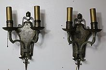 20TH C METAL WORK PAIR OF SCONCES