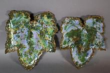 VINTAGE MAJOLICA LEAF FROM WALL POCKET SCONCE