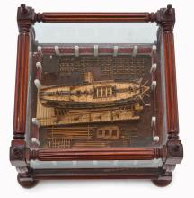 A WELL-PRESENTED NAPOLEONIC FRENCH PRISONER-OF-WAR-STYLE SLIPWAY MODEL FOR A 64-GUN SHIP