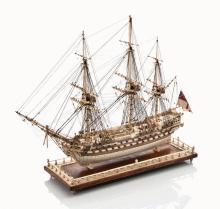 A PRISONER-OF-WAR-STYLE BONE MODEL FOR THE 64-GUN THIRD RATE SHIP DIADEM [1782]