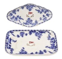 A SECOND CLASS WHITE STAR LINE DELFT PATTERN ASPARAGUS DISH, CIRCA 1910