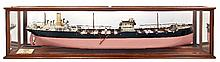 A FINE BUILDER'S MIRROR-BACKED HALF MODEL FOR THE TANKER S.S. LUMINA, BUILT BY SIR JAMES LAING & SONS, LTD, FOR THE LUMINA SS CO., 1915