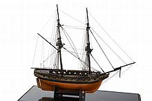 A CONTEMPORARY MODEL OF A 20-GUN TWO-MASTED BRIG, CIRCA 1840  the hull