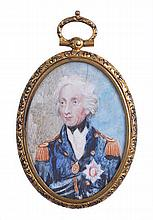 A MINIATURE PORTRAIT MEDALLION OF LORD NELSON, LATE 19TH-CENTURY  in wa