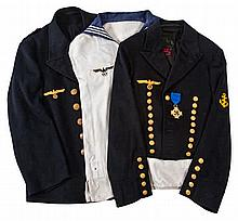 A QUANTITY OF THIRD REICH NAVAL UNIFORM  comprising a Warrant Officer's