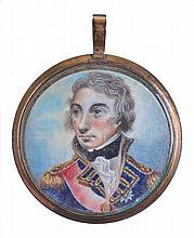 A MINIATURE PORTRAIT MEDALLION OF LORD NELSON, CIRCA 1810  in oils afte