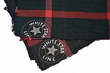 TWO WHITE STAR LINE BLANKETS  in red, green and blue wool plaid with Wh