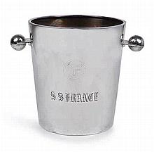 AN E.P.N.S CHAMPAGNE BUCKET FROM THE S.S. NORMANDIE, CIRCA 1935  engrav