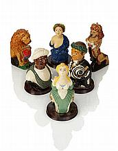 A COMPLETE SET SIX OF HAND PAINTED FIGUREHEAD MODELS BY MARY BRYNING, 1970s