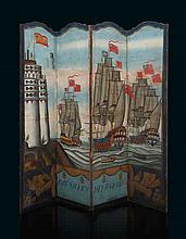 AN UNUSUAL 19TH-CENTURY PAINTED FOUR-FOLD SCREEN  painted on canvas att