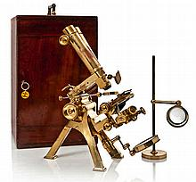 A FINE COMPOUND BINOCULAR NO. 1 MICROSCOPE BY POWELL & LEALAND, DATED 1878