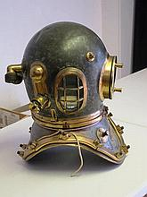 A 12-BOLT DIVING HELMET AND SUIT BY SIEBE, GORMAN & CO LTD   tinned ove