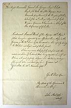 THE GREAT SIEGE OF GIBRALTAR, 1783  a manuscript commendation for Lt. S