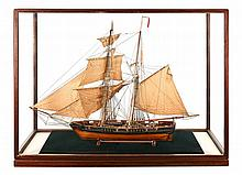 A FINELY DETAILED 19TH-CENTURY PLANK ON FRAME FULLY RIGGED MODEL OF THE 10-GUN AMERICAN PRIVATEER LIBERTY  OF CIRCA 1810