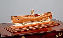 A RARE LATE 19TH-CENTURY FINELY PRESENTED BUILDER'S MODEL FOR THE STEAM LAUNCH TENDER TO THE S.Y. WINTONIA, 1894