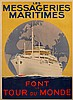 A POSTER FOR LES MESSAGERIES MARITIMES WORLD CRUISE, CIRCA 1960, Sandy Hook, £75