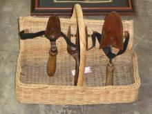 English Woven Reed Victorian Garden Tool Basket