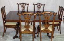 George Ii  Mahogany Pedestal Dining Tab & 8 Chairs