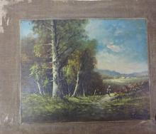 European Landscape With Figures O/c Uf