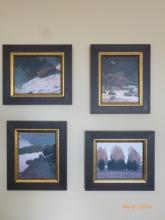 Set Of 4 Paintings (black And Gold Frame)