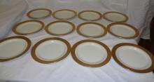 Set Of 12 Gold Rimmed Haviland Bread Plates