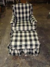 Black & White Club Chair With Ottoman