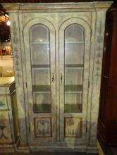 Hand Painted Italian China Cabinet W/ Lined Drawer