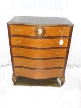 Mahogany & Satinwood Dresser With Limoges Inset