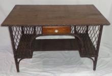 Wooden & Wicker Desk (1920's)