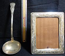 Silver Picture Frame & Punch Ladle