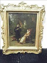 Oil painting of Torquato Tasso and Eleonora D'Este