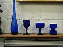 4 Items of blue glass