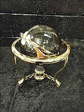 Semi-precious gemstone globe on brass stand BLACK