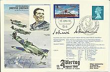 Johnnie Johnson Multisigned Historic Aviator cover, Hans Rossbach variation