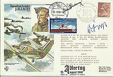James Ginger Lacey Multisigned Historic Aviator cover, Hans Rossbach variat