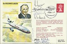 1979 Freddie Laker Historic Aviator cover flown from Gatwick to Miami and r