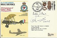 Wg Cmdr W.H. Bonner, Rev A.J. Arkell signed No51 Squadron cover 20th ann of