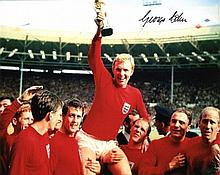 1966 World Cup - 8x10 photo signed by 1966 hero George Cohen, pictured cele