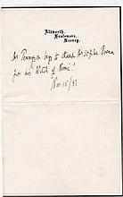 Alfred Lord Tennyson authentic genuine autograph signed letter, A 11cm x 17