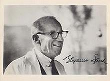 Benjamin Spock genuine signed authentic autograph image, A 10 x 8 inch b/w