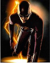 Grant Gustin 8x10 photo of Grant as The Flash, signed by him at Tv Upfronts