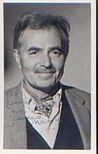 James Mason signed Dedicated P/C sized portrait with brief message on rever