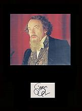 Charles Dickens Simon Callow. Signature mounted with a picture in character