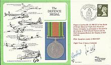 The Defence Medal cover signed by Sqn. Ldr. J. Wild and WWII Victoria Cross