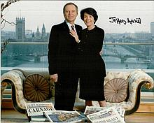 Jeffrey Archer signed 10x8 colour photo with his wife Mary. Good condition