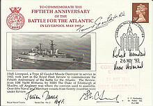 Tommy Gould VC, Admiral J Oswald signed Official Navy cover 50th ann Battle