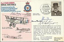 Wing Commander Norman Macmillan, OBE, MC, AFC, DL signed 12 Squadron cover