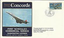 1976 British Airways Concorde cover flown on the first Scheduled Flight fro