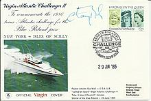 Chay Blyth signed Virgin Atlantic Challenger II cover. Good condition