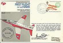 1974 First Flight of the Hawk cover, flown on the very first flight and sig